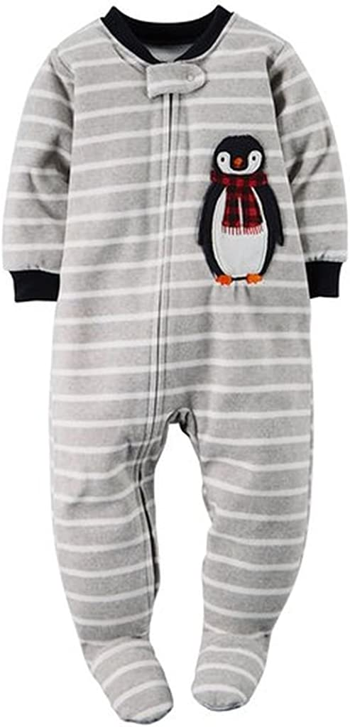 CARTER'S Boy's Striped Winter Penguin Fleece Footed Pajama Sleeper
