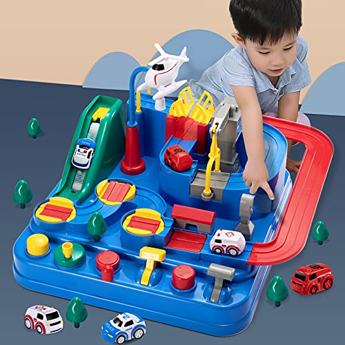 Temi Kids Race Track Toys for Boy Car Adventure Toy for 3 4 5 6 7 Years Old Boys Girls, Puzzle Rail Car, City Rescue Playsets Magnet Toys w/ 3 Mini Cars, Preschool Educational Car Games Gift Toys