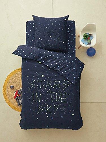 Vertbaudet Parure phosphorescente Housse de Couette + taie d'oreiller Enfant Stars in The Sky* Bleu Nuit 140X200 - TAIE 63X63