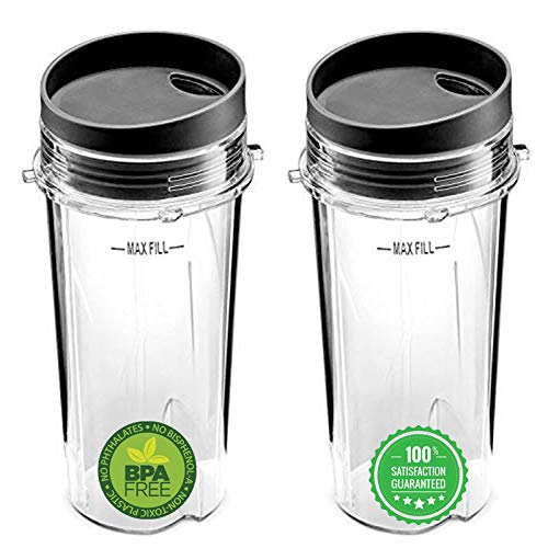 BLEND PRO Replacement For Ninja 16 Oz Cup Single Serve - For Nutri Ninja BL770 BL780 BL660 Blender (2-Pack)