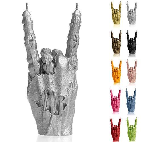 Candellana Kerze Hand RCK | Höhe: 22 cm | Zombie Hand | Silber | Brennzeit 30h | Kerzengröße gleicht 1:1 Einer realen Hand | Handgefertigt in der EU