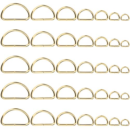 Qmnnma 35PCS D Metal Rings Golden D Ring Assorted 7 Size for Dog Collars Harnesses and Clothes Hardware Bags Ring Hand DIY Accessories