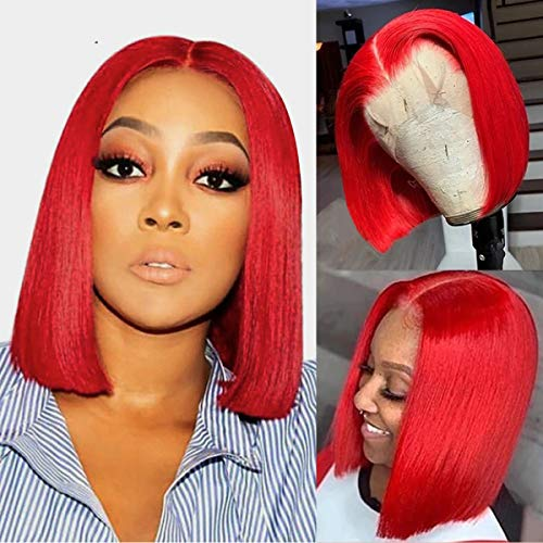 Red Bob Wigs Human Hair for Black Women Wigs 150% Density Brazilian Virgin Real Hair Silky Straight Bob Blunt Cut T Part Lace Front Wigs Full Ends Bleached Knots 10'