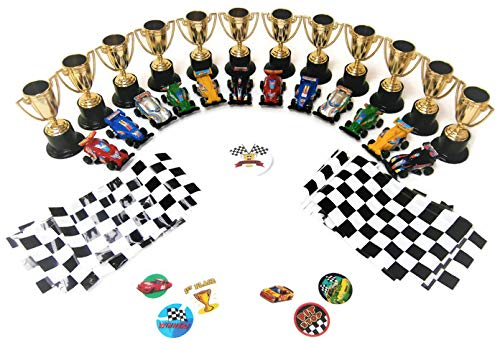 Race Car Party Favors for Kids (12 Trophies, 12 Race Cars, 24 Flags, 36 Tattoos and a Birthday Button)