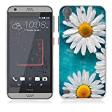 FUBAODA für HTC Desire 530 Hülle [Weiße Chrysanthemen] Kratzfeste Plating TPU Case für HTC Desire 530 Case Schutzhülle Silikon Crystal Case Durchsichtig für HTC Desire 530