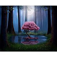 DIYダイヤモンド塗装キット-月の下の森の神聖な木フルサークルダイヤモンドジェムアートキット、ラインストーン付きクロスステッチペインティングクラフト、家の装飾に使用-(40x50CM)