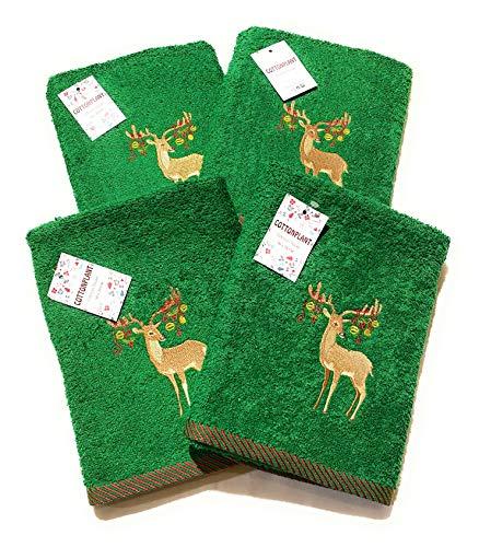 4 toallas de cocina 100% algodón bordadas de Navidad