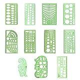 S-TROUBLE 11 Piezas Dibujos Plantillas Reglas Aprender Escuela Práctica Medición Multifunción Uso Amplio Matemáticas Geometría Plantillas Set Office