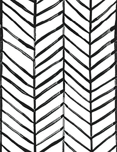 ConCus-T - Papel pintado autoadhesivo de vinilo impermeable con líneas de espiga, para cocina, baño, puerta delantera, escaleras, pared lateral, color negro y blanco
