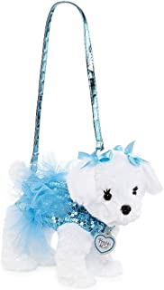 Poochie & Co Girl's Plush Puppy Dog Purse – Blue Sequins with Tutu – Mindy The Maltese - Blue Collar, Strap, and Bows