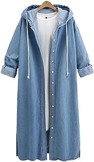 معطف QZUnique نسائي طويل من الدنيم مع غطاء للرأس وأكمام طويلة سترة ضد الريح مقاس زائد من جين جاكيت أبلى