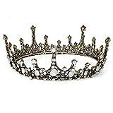 Czemo Prinzessin Diadem Hochzeit Tiara Schwarz Strass Barocke Königin Krone für Hochzeit, Festzüge, Party