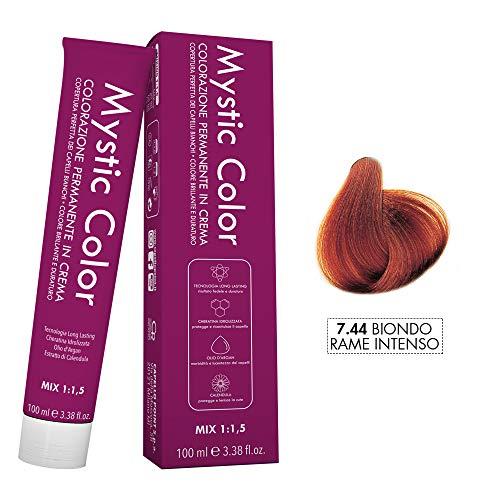 Mystic Color - Crème Colorante Permanente à l'Huile d'Argan et au Calendula - Coloration Longue Durée - Couleur Blond Cuivré Intense 7.44-100ml
