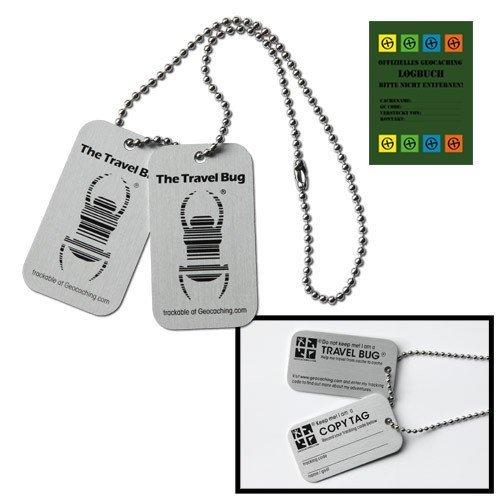 10 x Geocaching Travel Bug® mit Copytag 2 Dogtags - (10 pcs) mit Kette, trackable, TB