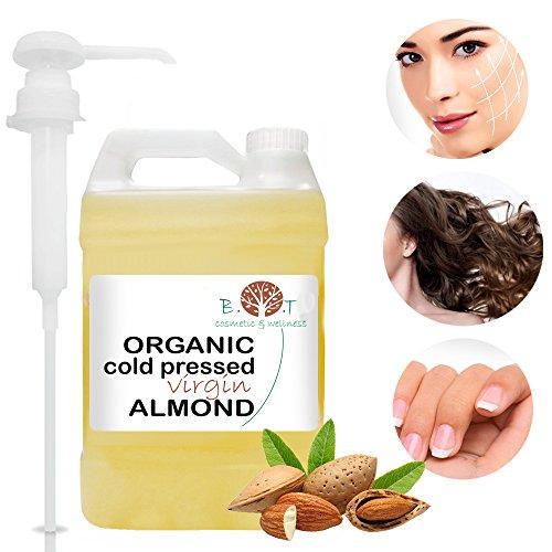 Huile Organique d'Amande Douce 5 litros- Première pression à froid - Huile à Barbe, Cils, Ongles, Cheveux - Huile 100% Pure - 5000 ml
