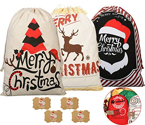 KEFAN 3 Pack Christmas Bag Santa Sack Canvas Bag for Gifts Santa Sack with Drawstrings Extra Large Size 27.5'x19.5'