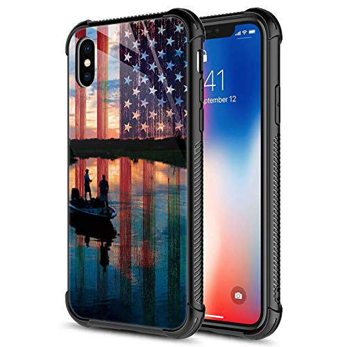 CARLOCA iPhone XR Case,Fishing Red USA Flag iPhone XR Cases for Girls Boys,Graphic Design Shockproof Anti-Scratch Drop Protection Case for Apple iPhone XR