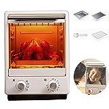 AFDK Mini horno 12L de doble capa, tostadora doméstica con efecto espejo, mini horno eléctrico multifuncional, con 4 accesorios, máquina de pan para el desayuno casero, blanco-900W,Blanco,900W
