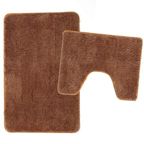 Poligono Juego de alfombrillas de baño de 2 piezas de microfibra, alfombra de 50 x 80 cm, alfombrilla para WC Water Forma rectangular 40 x 50 cm, antideslizante, lavable a máquina, marrón