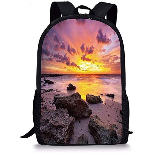 Hui-Shop Mochilas Escolares Tropical, Puesta de Sol en la Playa Horizonte en la Isla Mágico Idílico Paisaje meteorológico, Lila de Color Malva salmón para niños Niñas