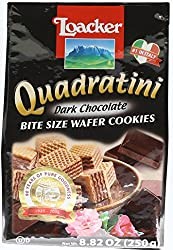Loacker Quadratini Bite Size Wafer Cookies, Dark Chocolate, 8.82 oz