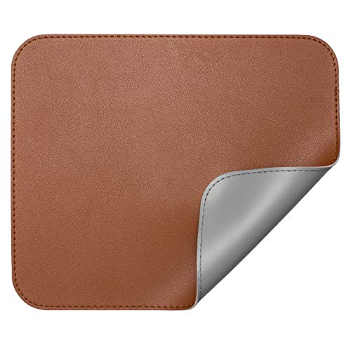 Cualfec Elegant PU Leather Mouse Pad DoubleSided amp Stitched Edge Brown/Grey