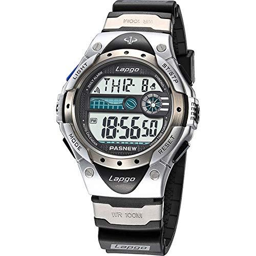 TWCAM Acero Cuero Pulsera Hombre- Reloj Deportivo A Prueba De Agua Reloj Electrónico para Niños De Secundaria Secundaria, Plateado (Pantalla Única N1)