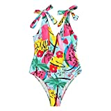 XIUXIU Women Watermelon Print Deep V One Piece Beach Swimwear Monokini Bikini Female Sexy Buckle Design Bikini (Multicolor, M)