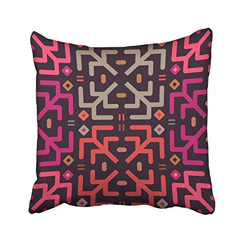 AEMAPE Fundas de cojín Diseño de patrón de Rayas de Chevron Naranja Líneas Coloridas étnicas Rombos en Rosa Oscuro Funda de cojín de 40X40 cm