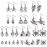 SUNNYCLUE 1 Box DIY 10 Pairs Halloween Theme Dangle Earrings Jewelry Making Starter Kit Skull Pumpkin Spider Skeleton Hand Witch Charms Pendants with Earring Hooks Instruction, Antique Silver