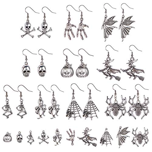 SUNNYCLUE 1 Box 10 Pairs DIY Gothic Halloween Earrings Jewellery Making Kit Skull Pendant Pumpkin Charm Spider Witch Supplies Charms Pendants for Crafting Antique Silver