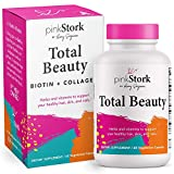 Pink Stork Total Beauty: Hair Skin and Nails Vitamins for Women with Biotin + Collagen + Calcium, Promotes Strong Healthy Hair Growth Plus Healthy Skin and Nails for Women, Women-Owned, 60 Capsules
