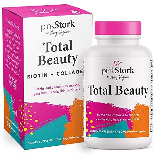 Pink Stork Total Beauty: Hair Skin and Nails Vitamins for Women with Biotin, Collagen, + Calcium, Promotes Strong Healthy Hair Growth Plus Healthy Skin and Nails for Women, Women-Owned, 60 Capsules