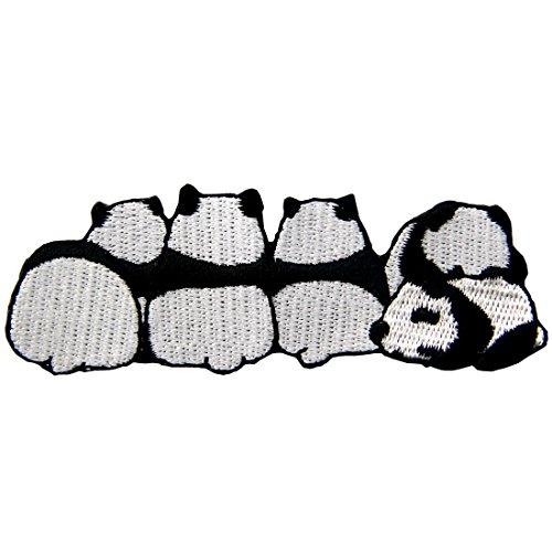 Aufnäher, bestickt, Design: Netter Panda, zum Aufbügeln oder Aufnähen