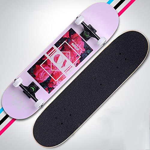 Rindasr Skateboard, 7 Schichten Ahorn Anti-Rutsch-wasserdicht Sandpapier, Vier-Rad-Doppel-Rocker Scooter for Anfänger Männer und Frauen, die Straße zu putzen (79x20x10cm) (Color : D)