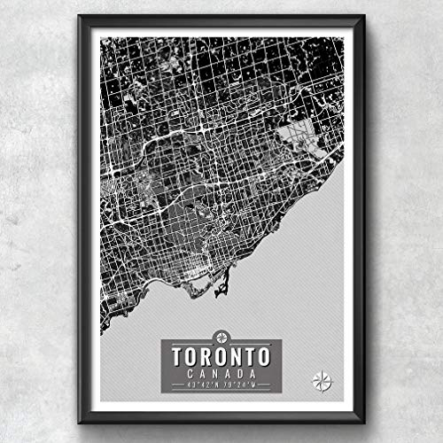 Toronto Canada Map with Coordinates, Toronto Wall Art, Toron...