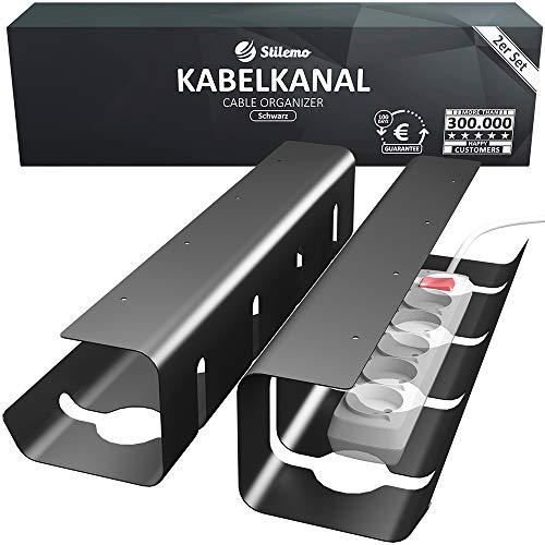 Kabelkanal Schreibtisch für Ordnung am Arbeitsplatz - Kabelmanagement Schreibtisch - Kabelhalter Kabelwanne Tisch 2er Set - Kabelkorb 43 x 12 x 10 cm