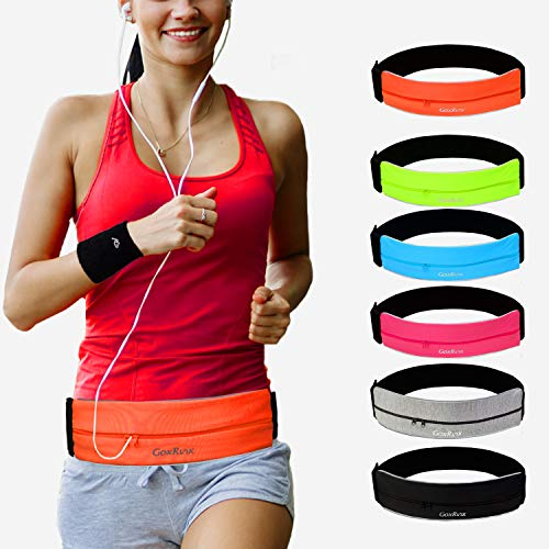 Running Belt Waist Pack + Sports Wristband,Reflective Zippered Runner Sports Pouch Bag Fanny Pack for Women Men, Elastic Running Waistband with Key Clip for Fitness Walking Cycling Traveling
