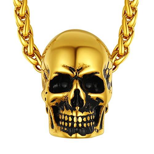 Richsteel 18K Oro Collar con Calavera Colgantes de Oro enchapado para Hombres Mujeres