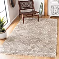 Safavieh Natural Kilim Collection NKM316B Flatweave Natural and Ivory Wool Area Rug (10' x 14')