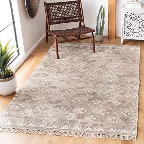 Safavieh Natürlicher Kelim-Teppich, NKM316, Flachgewebter Wolle, Natur / Elfenbein, 90 x 150 cm