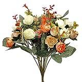 2 Ramo de Rosas Artificiales, 21 Cabezas, Flores Artificiales para Boda, Hogar, Jardín, Fiesta, Mesa Decoración, 7...