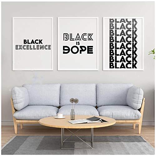 Cuadros modernosBlack Is Dope Quote Lienzo Pintura Negro Blanco Afroamericano Melanina Carteles Impresiones Arte de la Pared Imágenes para la Sala de Estar 23.6x31.5in (60x80cm) x3pcs SIN Marco