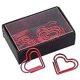 GLOGLOW Liebe Herzförmige Büroklammern Lesezeichen Kennzeichnung Dokument Organizing Clip Briefpapier Seite Marker für Büro Schulbedarf(rot)
