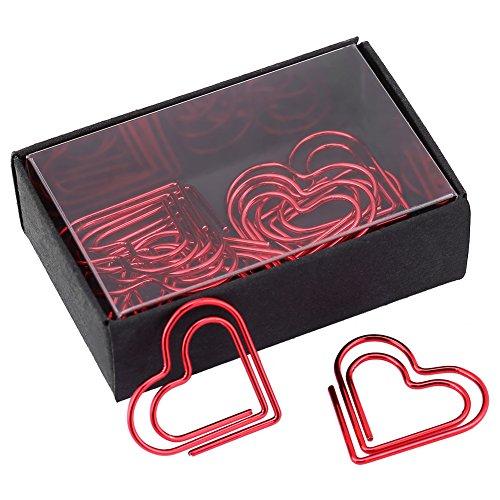 Büroklammern, Lesezeichen, kreative Herzform, Bürobedarf, Geschenke, Rot, 12 Stück
