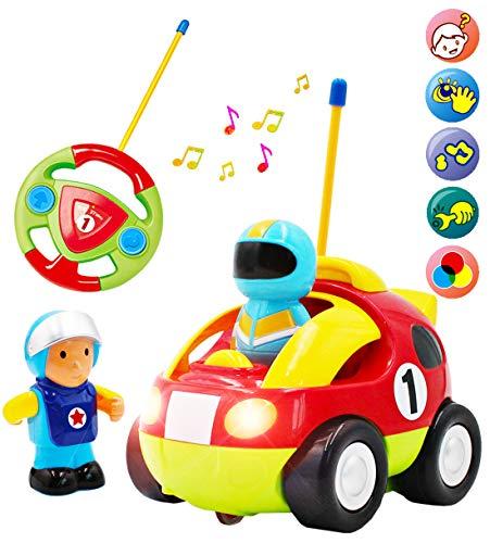 deAO Coche Adorable para Principiantes Cochecito a Control Remoto con Luces Música y Sonidos Figura de Conductor Extraíble (Coche de Carreras)