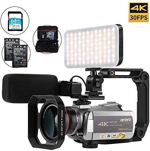 Camcorder 4K Videokamera ORDRO Videokamera 4k 30fps Vlog Kamera 1080P 60fps IR Nachtsicht WiFi Camcorder mit Mikrofon, LED-Licht, Weitwinkelobjektiv, 64GB SD Karte