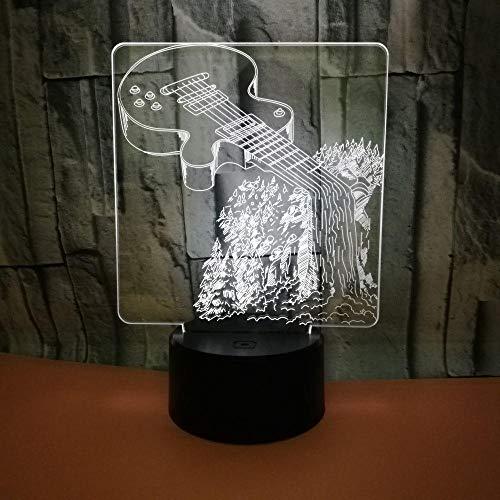 Mbywq Gitar 3D kleine tafellamp, kleurrijk aanraakgestuurd visueel licht, cadeausfeer, aanpassing aan 3D-nachtlampje