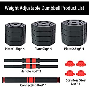 Arespark Adjustable Dumbbell, 55lb Free Weight Dumbbell Set, Free Weight Barbell Set, Detachable Barbell for Weightlifting, 3in1 Barbell Set with Connecting Rod for Workout Strength Training (Black)