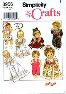 Simplicity 8956 Crafts Sewing Pattern Wardrobe for Baby Dolls Clothing